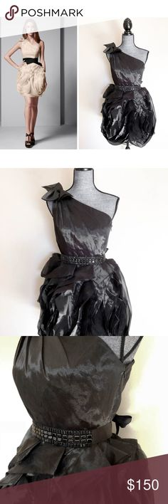 """Vera Wang Black Evening Organza Dress 6 Gorgeous dress by vera wang white label. Only worn once. I do not have the original sash but I am willing to include my embellished sash that ties on the back.  Bust across 16 Length 35"""" Vera Wang Dresses One Shoulder"""