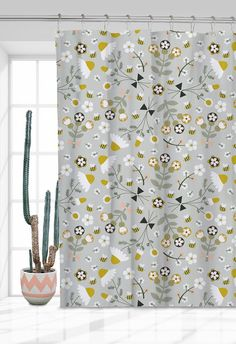 shabby chic romantic floral camomile pattern window curtain by artibonita