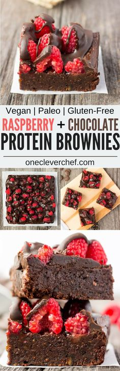 These healthy Raspberry and Chocolate Protein Brownies are deliciously moist and extra rich. Naturally sweetened, this melt in your mouth protein snack is the perfect post-workout treat. Made with dates and almond flour, this guilt-free, decadent dessert is also paleo, vegan, gluten-free, dairy-free, egg-free and flourless. | onecleverchef.com