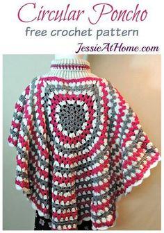 Circular Poncho - free crochet pattern by Jessie At Home #CrochetValentines