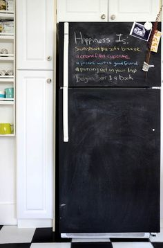Kitchn - How about painting a fridge with chalkboard paint instead of stainless?  Looks a little messy, but also quite fun.