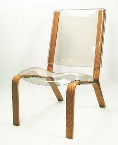 "Bent-oak and clear plastic ""Y Shift"" chair from RISD-trained designer Louie Rigano.  Bonus that he's from NJ."