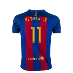Barcelona 16/17 NEYMAR JR Youth Home Soccer Jersey  | $95.45 | Holiday Gift & Stocking Stuffer ideas for the FC Barcelona fan at WorldSoccerShop.com