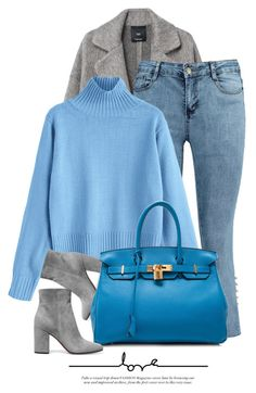 """Blue Shades"" by monmondefou ❤ liked on Polyvore featuring MANGO, Gianvito Rossi, Hermès and Blue"