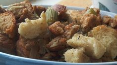 A basic bread stuffing which incorporates a generous amount of chopped celery, onion and seasonings yielding enough to dress a 10 to 15 pound turkey.
