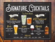 This item is unavailable Cocktail Names, Cocktail Menu, Signature Cocktail, Drink Menu, Bar Drinks, Drink List, Beverages, Chalkboard Bar, Custom Bar Signs