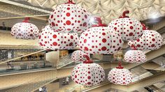 Yayoi Kusama seems to be everywhere this year: now, a selection of her pumpkins will be suspended from the ceiling at the new Ginza Sixcomplex. Hanging ab