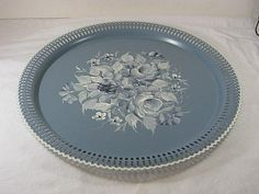 Vintage BLUE ROSES Tole TRAY Serving Hand by LavenderGardenCottage etsy