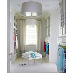 closets - Farrow & Ball - All White - Restoration Hardware Round Shade... ❤ liked on Polyvore