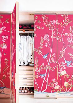 Big, Boring Closet Doors? Make them over with things like wallpaper, mirrors, medallions etc. I love this wallpaper idea for my craft room!