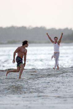 Matt Bomer And Shirtless Joe Manganiello Play Football On The Set Of 'Magic Mike XXL'