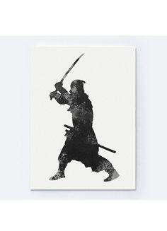 Gray Samurai Silhouette Japanese Warrior by Silhouetown on Etsy