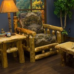 Aspen Log Chair with matching aspen log furniture- Rustic log furniture