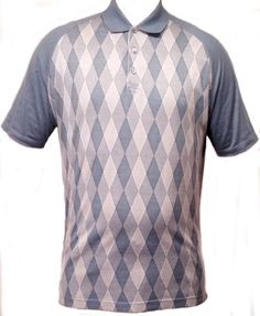 Burberry Golf Polo Style Blue Argyle SS 100% Cotton Casual Golf Shirt Size L #Burberry #PoloRugby