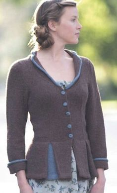 Knitting Pattern for Peplum and Pleat Jacket - This jacket combines a flared peplum and princess-line shaping for a finely tailored knitted jacket with femininity to spare.