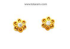 Gold Earrings for Women in 22K Gold with Cz - GER6638 - Indian Jewelry from Totaram Jewelers