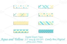 Check out Aqua and Yellow Digital Washi Tape for Scrapbook and Journals by Candy Box Digital on Creative Market