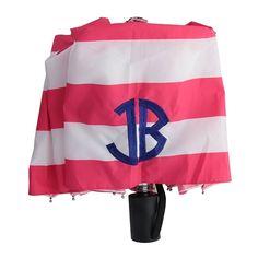 Strawberry Stripe Monogram Umbrella | underthecarolinamoon.com  You can brighten even the rainiest of days with this monogrammed umbrella. #UTCM #UnderTheCarolinaMoon #Umbrella #monogram #MonogramUmbrella #monogrammedUmbrella #StrawberryStripe