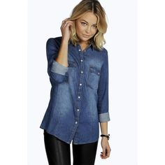 Boohoo Blue Tori Roll Sleeve Fitted Denim Shirt ($35) ❤ liked on Polyvore featuring tops, mid blue, denim shirt, ribbed crop top, denim crop top, long-sleeve crop tops and long sleeve jersey shirt