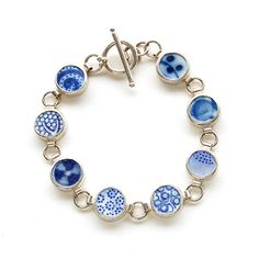 Pottery Shard and Silver Bracelet - Blue and White Dots. £150.00, via Etsy. love it! #ecrafty