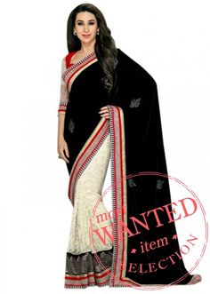 A Karishma Kapoor beautiful  half half saree in velvet and lace net fabric with lace border