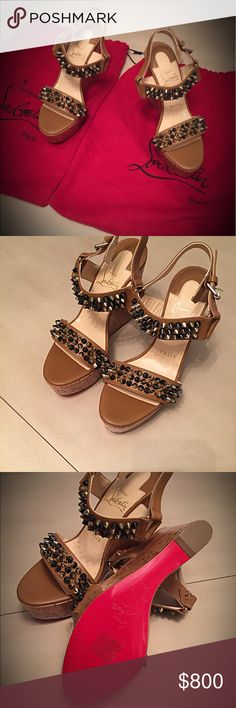 Christian Louboutin Wedges Rare! Brand new. Never worn CL wedges. Bikee Bike Zella Christian Louboutin Shoes Wedges