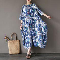 Women print cotton linen dress