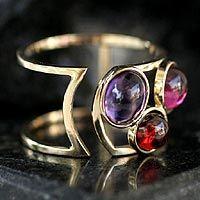 NOVICA - Brazil - Mary Geluda 'Simply Three' garnet, pink tourmaline, amethyst and 18k gold band ring. <3
