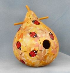 Ladybug Yellow Hand Painted  Bird House Gourd by HouseOfGourds on Etsy
