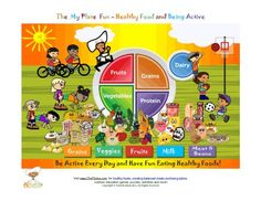 Fun colorful page to show children the importance of balancing their food choices on My Plate with daily activity. Idea for -Responsible for What I Say and Do petal (Mari)