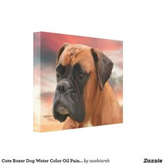 #Cute #Boxer #Dog Water Color Oil #Painting Wall #Art #animal #pet #wallart #colorful #watercolor #oilpaint #canvas