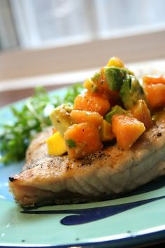 Grilled Opah with mango-papaya-avocado salsa - trying this tonight!  Probably minus the papaya since I don't want to go hunting one down