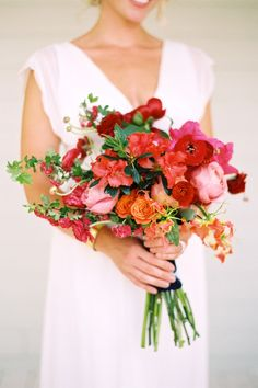 red, orange and pink bridal bouquet