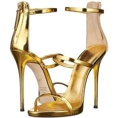 Giuseppe Zanotti Three Strap Sandal (Gold) Women's Dress Sandals ($845) ❤ liked on Polyvore featuring shoes, sandals, heels, scarp, heeled sandals, strappy high heel sandals, dress sandals, gold heeled sandals and strappy platform sandals