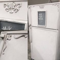 Shabby Chic fridge makeover with Superior Paint Co. appliques