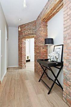 touch of brick in halls Brick Interior, Interior Walls, Home Interior Design, Interior Decorating, Home Upgrades, Brick Design, Apartment Living, Home Furniture, Sweet Home
