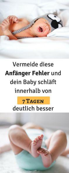 Vermeide diese Anfänger Fehler, damit dein Baby leichter einschläft und besser durchschläft. Innerhalb von 7 Tagen kann der Schlaf deines Babys deutlich besser werden. Baby Schlafprogramm, Baby einschlafen, Baby schlafen, 3 Monats Koliken, Baby schreien lassen, Baby weint, Einschlafritual Baby