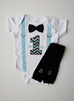 First Birthday Boy Outfit Suspenders Personalized by mamabijou, $34.00