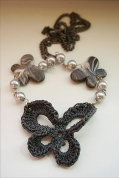 crocheted butterfly necklace