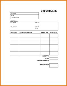 Blank Order Forms Templates Free