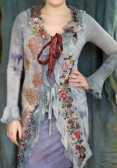 1700 romantic textile art jacket hand embroidered by FleurBonheur, $288.00