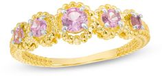 Zales Lab-Created Pink Sapphire Beaded Frame Five Stone Ring in 10K Gold
