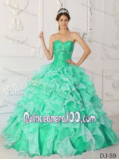 Apple Green and White Quince Gown by Taffeta and Organza with Beading