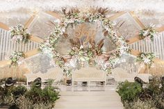 Image may contain: flower, table and outdoor Wedding Backdrop Design, Wedding Stage Design, Wedding Reception Backdrop, Wedding Stage Decorations, Engagement Decorations, Wedding Mandap, Backdrop Decorations, Peach Wedding Invitations, Indian Wedding Receptions