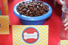 Puppy chow in dog bowl for doggie (Paw Patrol) themed dessert table (chocolate covered raisins!)