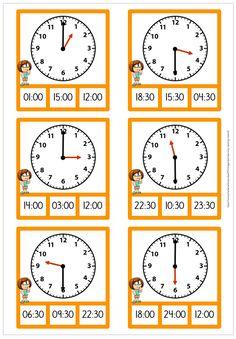 Math Coloring Worksheets, 3rd Grade Math Worksheets, 2nd Grade Math, Preschool Worksheets, Clock Worksheets, English Worksheets For Kids, Math School, Teaching Time, Homeschool Math