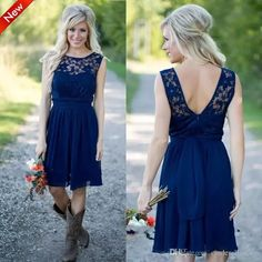 2018 Navy Blue Country Style Bridesmaid Dresses Jewel Sheer A Line Knee Length Summer Beach Mini Cocktail Short Maid Of Honor Party Gowns Country Bridesmaid Dresses Designer Bridesmaid Dresses From Cinderelladress, $77.19| Dhgate.Com #summercocktails