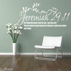 Jeremiah 29:11 Bible Quote Christian Wall Sticker Inspirational Vinyl Decal Art | eBay