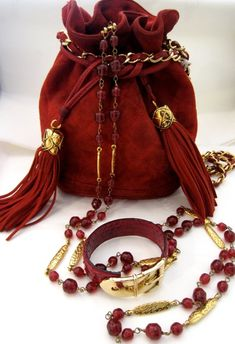 Matching brick red Chanel tassel purse, bracelet and necklace #fashion #accessories #jewelry