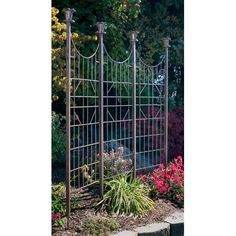 Charcoal Brown Three Panel Garden Screen